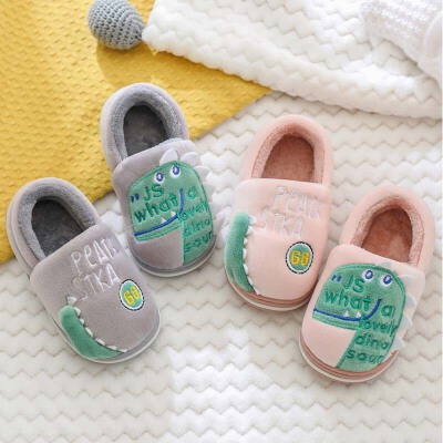 儿童棉拖鞋冬室内可爱宝宝家用男女小孩家居包跟拖鞋幼儿恐龙