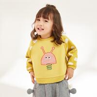 【秒杀价:180元】马拉丁童装女小童短款卫衣春装2020新款趣味贴布儿童舒适圆领卫衣