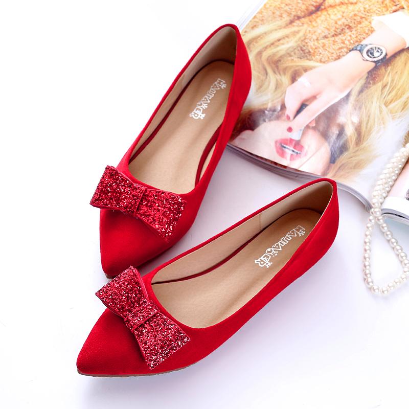 红色单鞋平底新娘2018新款大码女鞋40红鞋41秀禾鞋43婚鞋女秋季