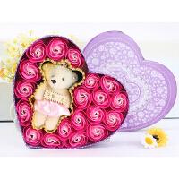 创意礼品 20朵框架小熊香皂花玫瑰礼盒 情人节 20朵框架熊-红