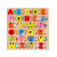 小孩子玩具早教数字拼图幼婴儿童益智手抓字母拼图板配对玩具积木制1-2-3岁送儿童生日礼物
