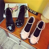 些久夏秋新款厚底女鞋一字扣中跟复古单鞋女英伦风小皮鞋