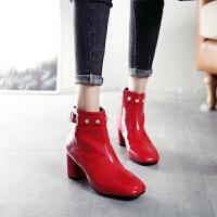 BANGDE欧洲英伦漆皮方头小短靴女2018冬靴子女亮皮踝靴粗跟高跟马丁靴