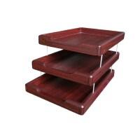 高档三层木质文件盘 文件座 木质资料架 8300文件收纳架