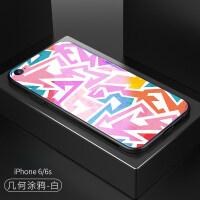 苹果8手机壳7plus个性蓝光玻璃涂鸦男女款iphone6s潮牌6