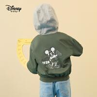 迪士尼童装2020春季新款男童时尚连帽棒球服宝宝夹克儿童外套帅气