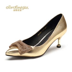 红蜻蜓旗下品牌金粉世家女鞋秋冬休闲鞋鞋子女单鞋高跟鞋JGB1024