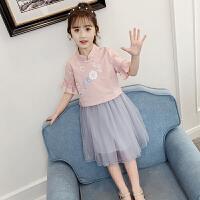 女童套装裙夏装儿童民族风短袖上衣短裙纱裙两件套