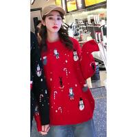 不一样的情侣装秋冬2019圣诞节雪人毛衣同色系针织衫一男一女外套
