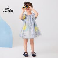 【秒杀价:165元】马拉丁童装女小童连衣裙夏装2020新款网纱叠穿设计泡泡袖图案裙