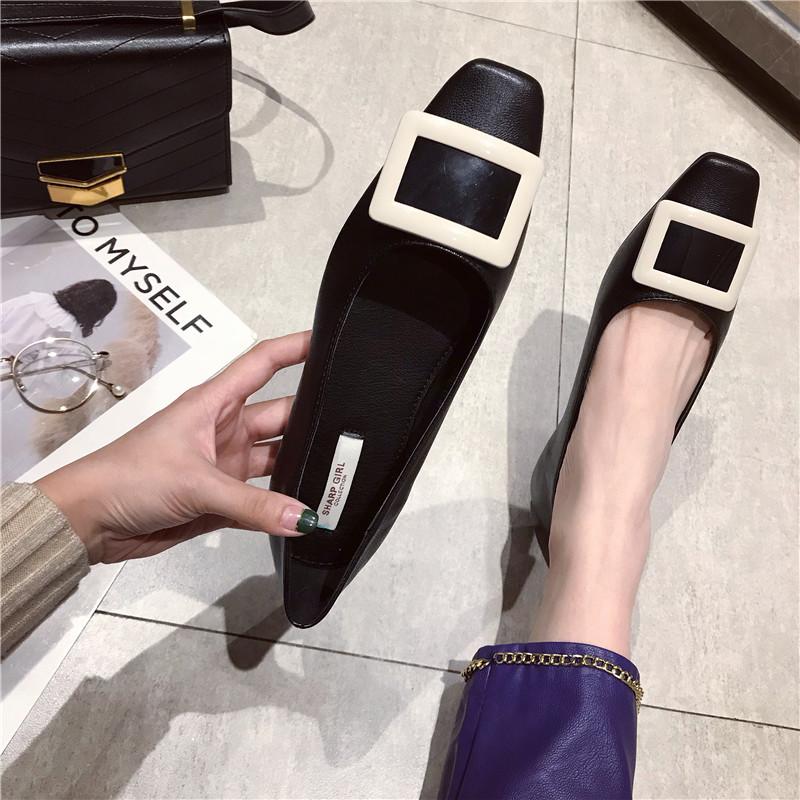 时尚韩版简约女士单鞋百搭浅口方头平底舒适新款女鞋黑