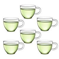6只装玻璃茶杯子 红茶杯功夫茶具80ML玻璃小茶杯带把品杯透明品茗杯子耐热杯功夫夫茶具水杯杯子