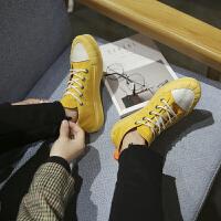 鞋子男帆布鞋高帮韩版原宿百搭潮板鞋国风街头中帮增高休闲鞋春季