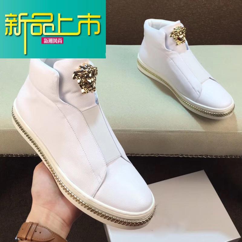 新品上市高帮男鞋真皮板鞋韩版潮流运动休闲鞋高邦鞋男潮鞋   新品上市,1件9.5折,2件9折