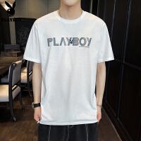 花花公子新款纯棉白色短袖t恤男士夏季潮牌潮流帅气宽松半袖