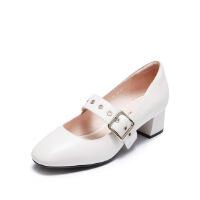 爱旅儿哈森旗下浅口帅气方头小粗跟玛丽珍单鞋女EL71515