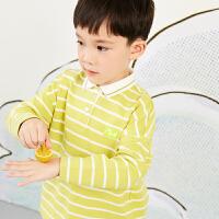 【6折价:183.06元】马拉丁童装男大童t恤春装2020年新款拼接条纹长袖t恤打底衫