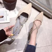 尖头单鞋女2019春季新款时尚浅口交叉带女鞋气质百搭优雅女鞋子