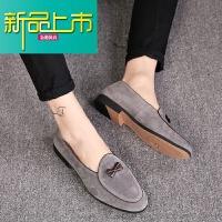新品上市潮流休闲一脚蹬小皮鞋男士韩版真皮时尚透气蝴蝶结潮鞋鞋