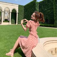 卡贝琳新款女甜美气质粉色波点雪纺连衣裙2019新款夏小个子收腰显瘦裙子泡泡袖连衣裙女