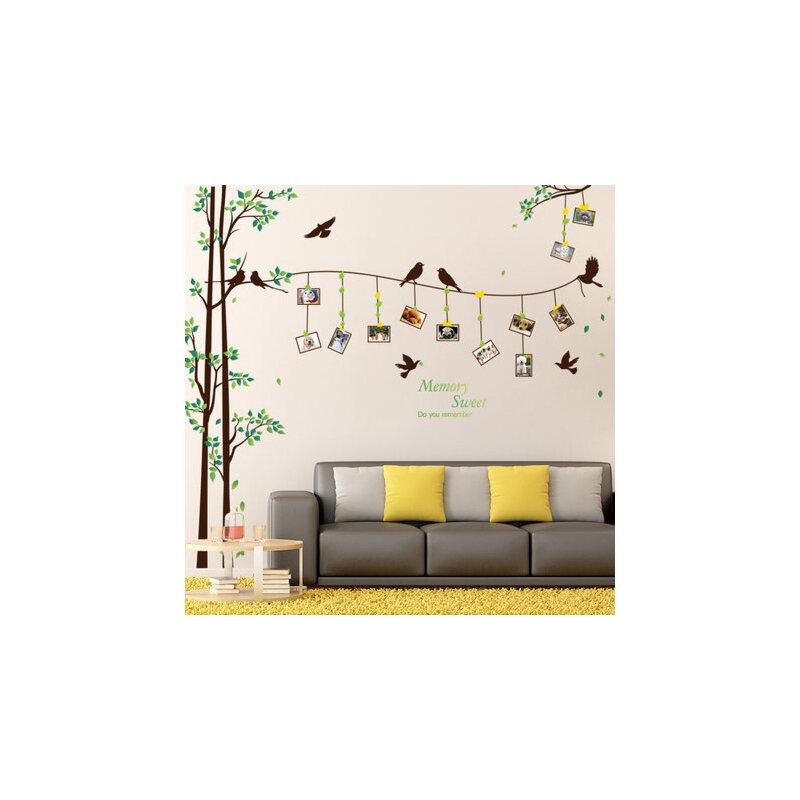 照片墙贴纸墙上创意客厅卧室床头背景墙壁墙面装饰温馨小清新墙贴 绿树照片贴 多套更好看 拼贴简单方便