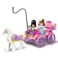 小鲁班拼装积木 女孩组装公主马车模型拼装玩具益智积木车
