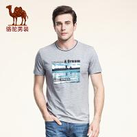 骆驼男装 夏季新款微弹时尚圆领印花修身日常休闲短袖T恤衫男