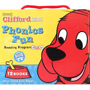 现货 大红狗大红狗克里弗 英文版 Clifford套装系列6 (含CD),包含12本书 学乐出版社 自然拼读法系列 进口图书