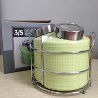 密封罐带盖陶瓷储物罐子收纳盒咖啡杂粮糖果罐摆件调味罐组合三件组合厨房套装颜色随机