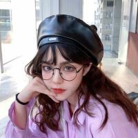 PU皮贝雷帽女夏季薄款秋冬季英伦复古八角帽子韩版日系潮ins黑色