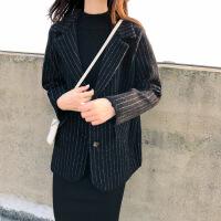 新颖潮牌条纹仿水貂绒开衫毛衣女装新款韩版加厚时尚针织衫外套秋冬季 黑色
