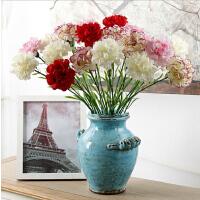 丝绢布单支康乃馨仿真花多色可选新居婚礼陶瓷玻璃花瓶配套手捧花