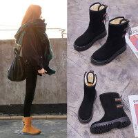 短靴女流苏平底内增高女靴套筒短筒女鞋2018冬季新款中筒靴保暖鞋