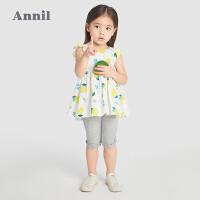 【2件4折价:67.6】安奈儿童装女童裙衣夏季薄款2021新款透气宝宝连衣裙女孩工字裙子