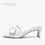 【 限时4折】哈森2019夏新款羊皮革懒人鞋一脚蹬 粗高HM97176