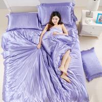 夏季凉天丝四件套冰丝绸丝滑被套床单裸睡凉爽丝绸贡缎床上用品 雪青色 送睡衣