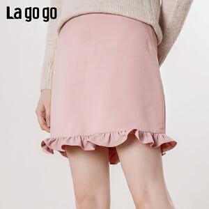 【清仓5折价125】Lagogo/拉谷谷2019年春季新款时尚淑女名媛风半裙IABB13ZG07