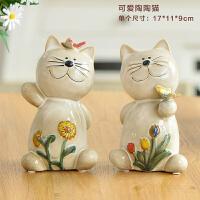 家居装饰品欧式陶瓷猫摆件 创意结婚礼物 客厅办公室工艺品小摆设