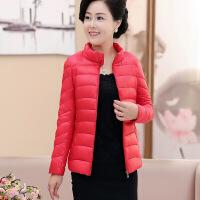 妈妈中老年轻薄棉衣女冬装短款修身棉袄黑色大码上衣外套
