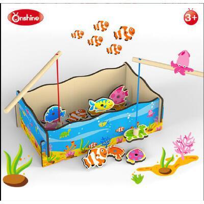 Onshine 益智幼儿海洋钓鱼类游戏 磁性木质玩具 训练手眼协调