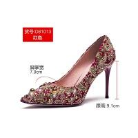 秀禾鞋婚鞋女2019冬季中式敬酒鞋红色结婚高跟鞋细跟秀禾服新娘鞋