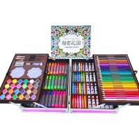 画笔套装 水彩笔画笔美术学习用品画画工具儿童绘画套装礼盒小学生生日礼物 粉红色 送六重
