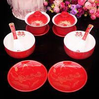 结婚用品 陶瓷对碗婚庆红釉喜碗红瓷对杯对碗勺碟套装12件套