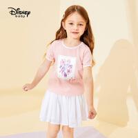 【2件3折价:74.7】迪士尼童装儿童女童网纱短袖短裙套装中小童宝宝衣服裤子夏装洋气