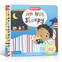 【顺丰速运】英文进口原版 I'm Not Sleepy我不困 幼儿生活习惯养成 纸板翻翻书 睡前读物 帮助儿童入眠 2