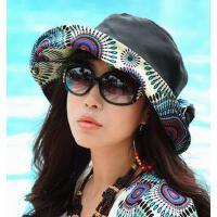 新款个性时尚休闲女帽子大檐太阳帽防晒帽沙滩帽士韩版折大沿防紫外线遮阳帽