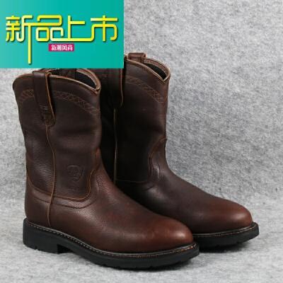 新品上市欧美牛皮圆头马靴西部牛仔靴复古中筒男靴固异防水工作靴大码鞋 深棕色  新品上市,1件9.5折,2件9折
