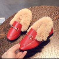 儿童皮鞋 女童加绒皮鞋2019秋冬季新款韩版休闲学生毛毛鞋女童中小童大童加厚棉鞋