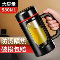 玻璃杯便携带把泡茶杯办公玻璃水杯男大容量家用泡茶双层杯子定制