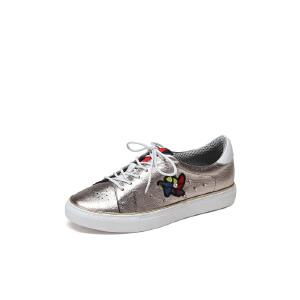 红蜻蜓旗下品牌COOLALA女新款白色休闲鞋系带圆头板鞋HGB7014